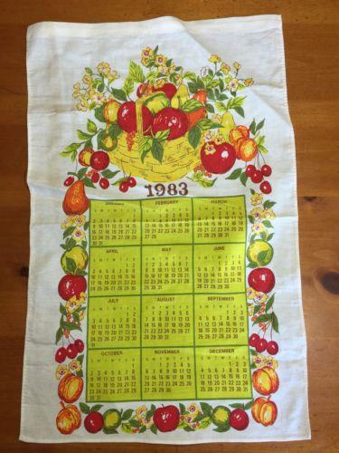 Beautiful Kitchen calendar Cloth towel Vintage 1983 Fruit Basket