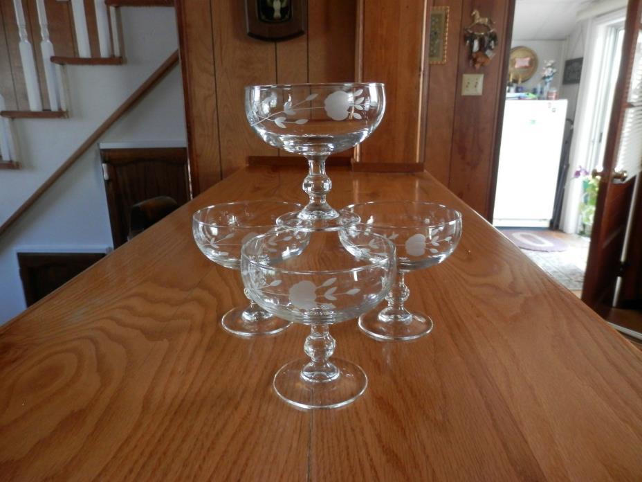 VINTAGE PRINCESS HOUSE HERITAGE set of 4 STEM DESSERT DISH GLASS GLASSES #507