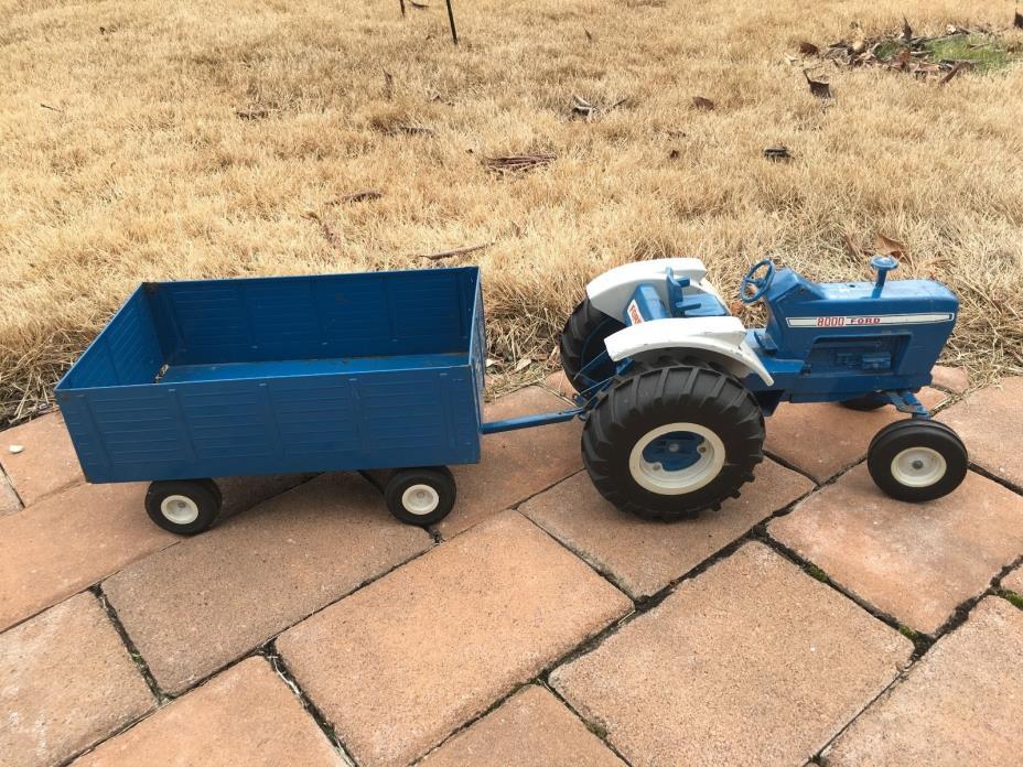 Vintage FORD 8000 ERTL Diecast Blue Tractor Metal Farm Toy-The Big Blue Trailer