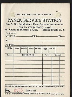 c1930 PANEK Gas Service Station W. Union & Thompson Bound Brook NJ Sales Receipt