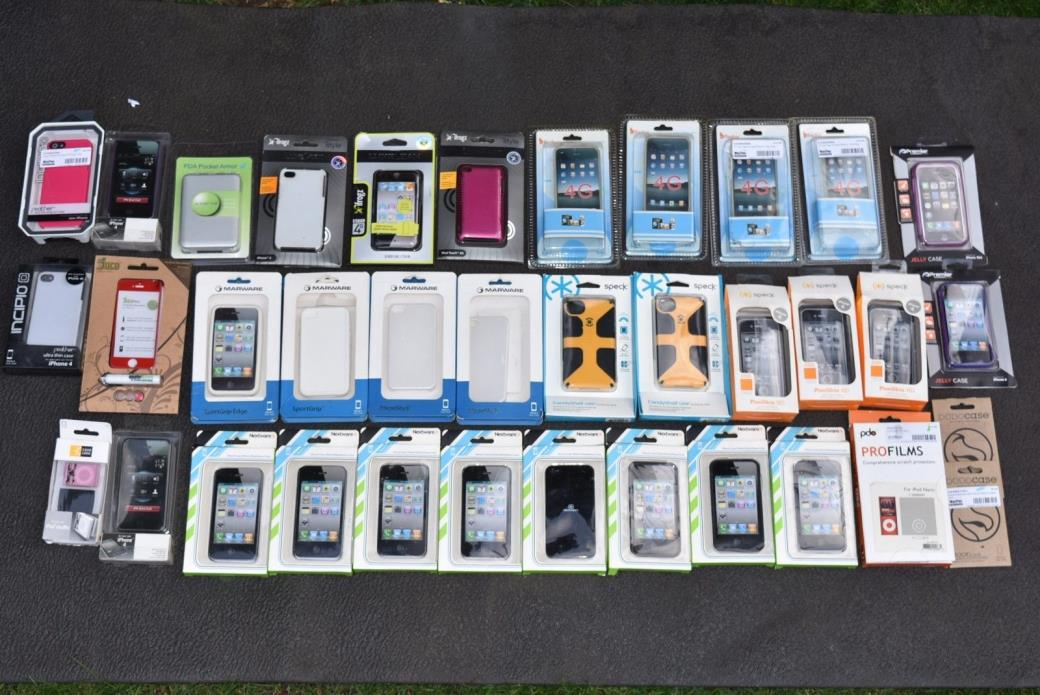 Lot of 36 iPhone 3G/3GS, 4/4S, iPod Touch 4G, Nano, PDA Case Skin Cover Set