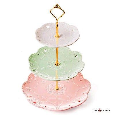 3 Tier Porcelain Cake Stand Dessert Cupcake Tea Party Wedding Serving Home Decor