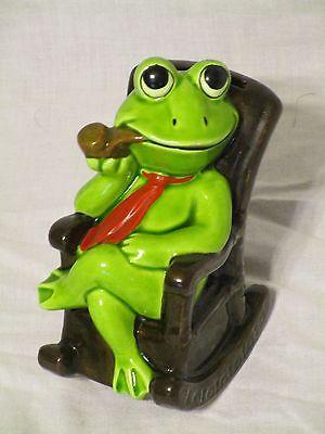 Vtg Norcrest Japan Frog in Rocking Chair Bank