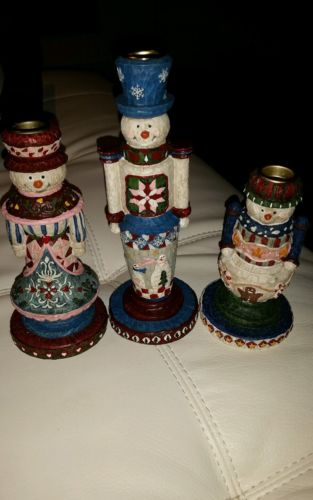 snowman candle holder set