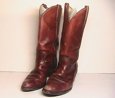 Vintage Mens FRYE Cowboy Boots, 10D, Brown Leather, made in USA