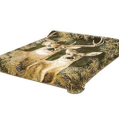 New Solaron Queen Size Deer Green Korean Acrylic Blend Blanket