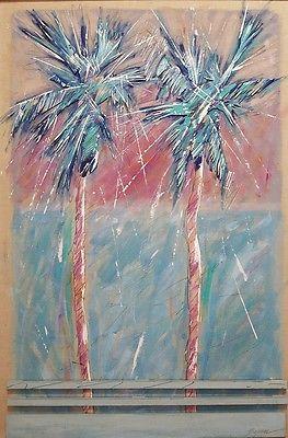 Michael BRYAN - ORIGINAL - Palm Trees, c1987 - painting, mixed-media