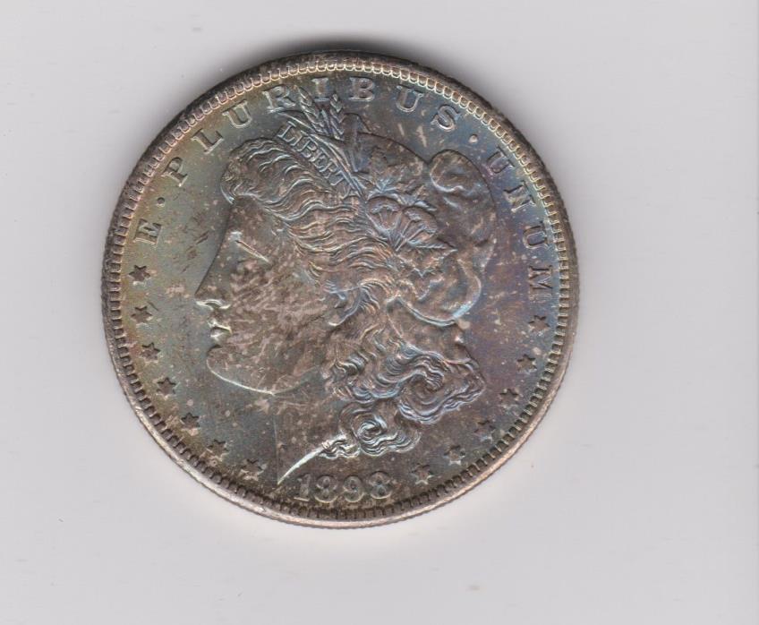 1898-O MORGAN SILVER DOLLAR RAINBOW TONED COIN ITEM #1547