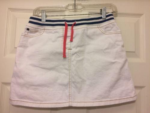 13-14 YR Mini Boden Girls White Stretch Jean Skirt Drawstring Elastic Waist