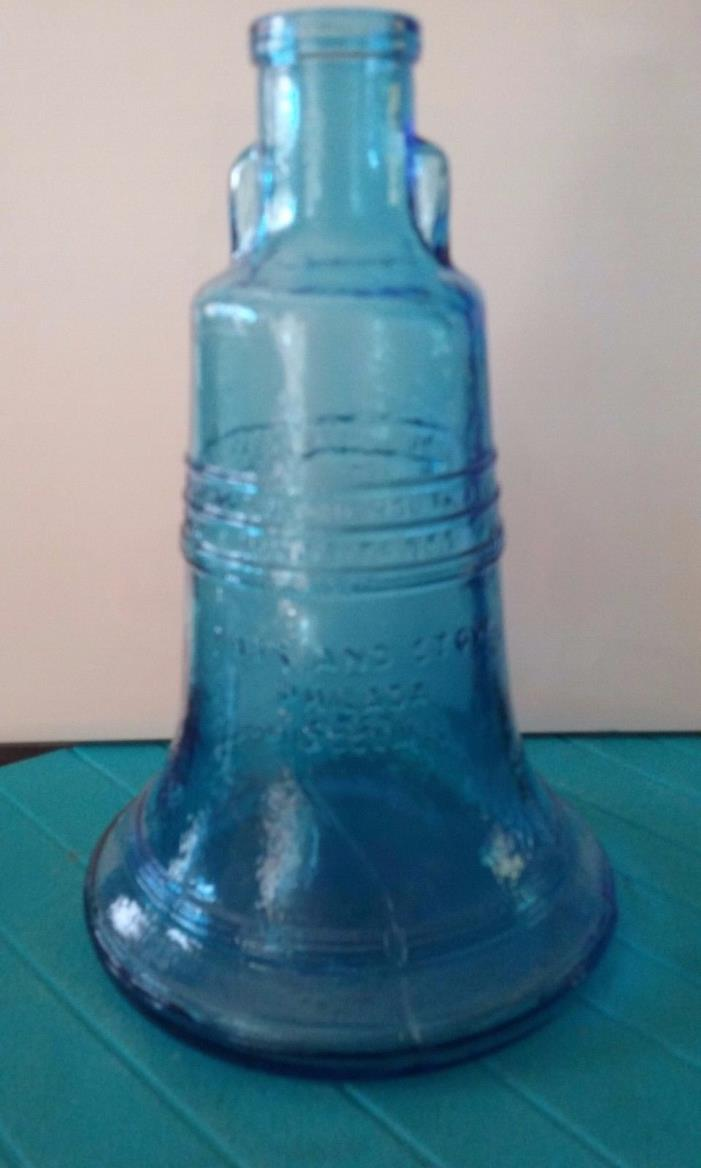 Vintage blue glass bell jar with sayings from Wheaton, NJ