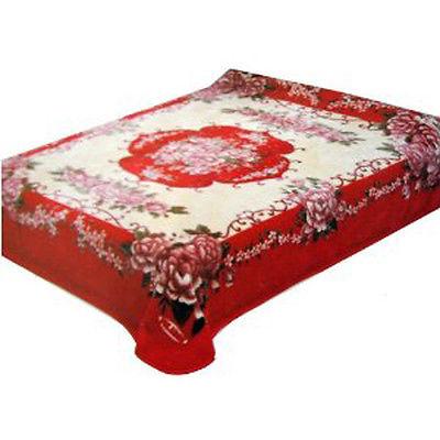 Solaron Queen Flower BM-60 Korean Acrylic Blend Blanket - Red