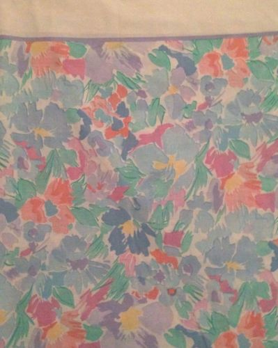 Vintage Cannon Floral Queen Flat Sheet With White Border VGC