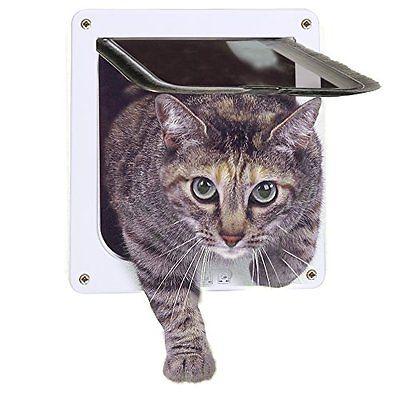 Cat Door 4-Way Locking Pet Door for Interior Doors Exterior Doors (White)