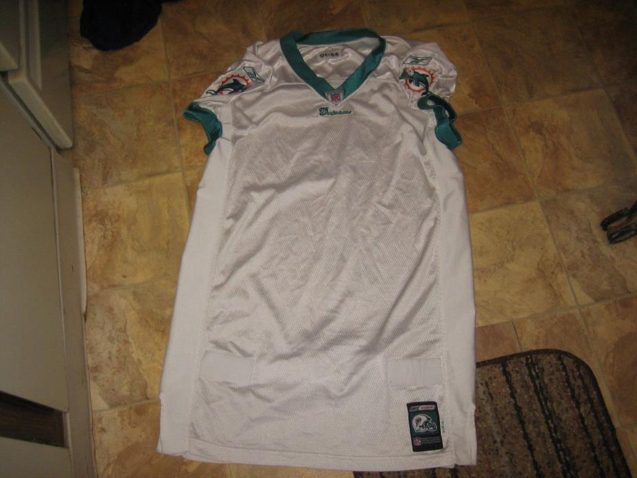 MIAMI DOLPHINS BLANK PRACTICE GAME USED NFL FOOTBALL JERSEY MEN'S 01-54 WHITE