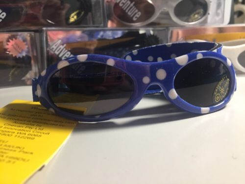 Baby banz Adventure 100% UV Protection Blue W/ White Polka Dot Infant Sunglasses
