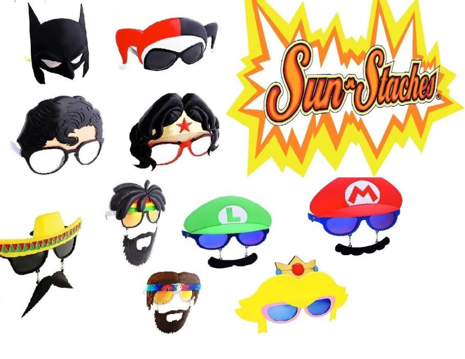 MAKE OFFER ~ 20 Lot of Sunstache Glasses Party Supply DC Nintendo ~ BLOWOUT SALE