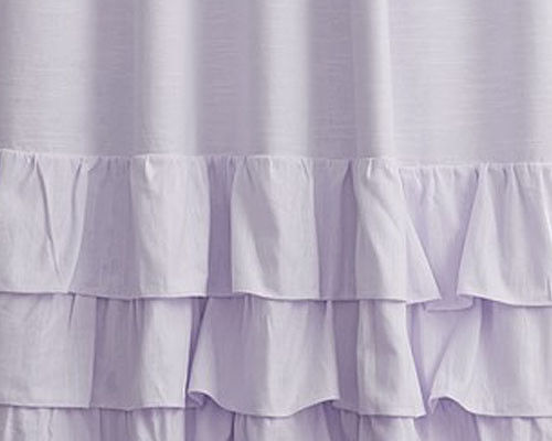 Pottery Barn Kid Evelyn Linen Ruffle Bottom blackout 44x96 drape LAVENDER purple