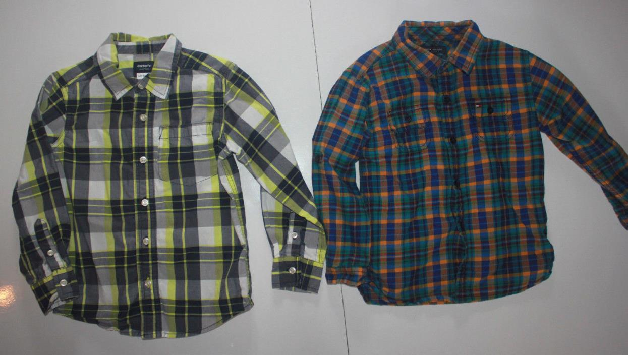 Lot of Toddler Boys Button Up Long Sleeve Plaid Checkered Shirts Size 4T Tommy