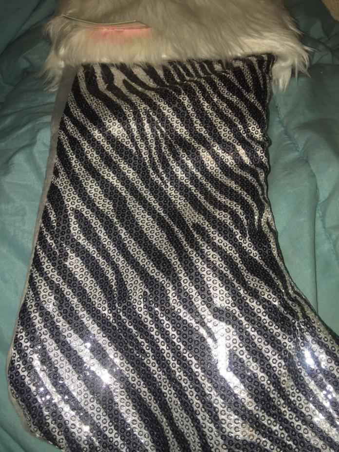 Christmas stocking zebra black silver with white border 14 inches tall New
