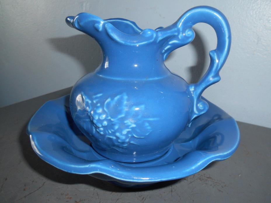 Vintage Art Pottery Marked McCoy Blue Pitcher and Bowl Set EUC