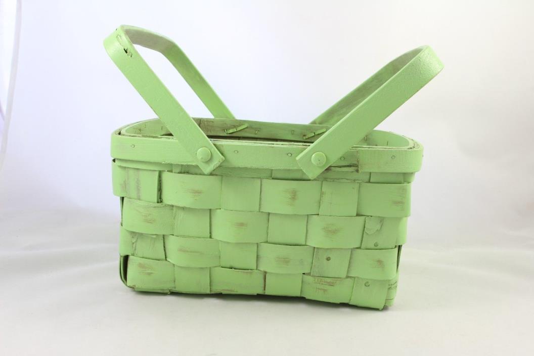 Mint Green Wicker Flower, Picnic Decorative  Basket 10 x9 x 5.5  with 2 Handles