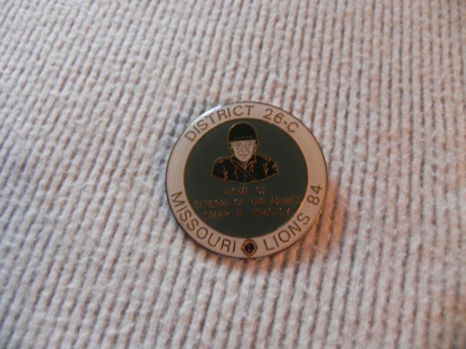 Lions Club Pin Missouri 26c General Omar Bradley 84 vintage lapel hat pinback