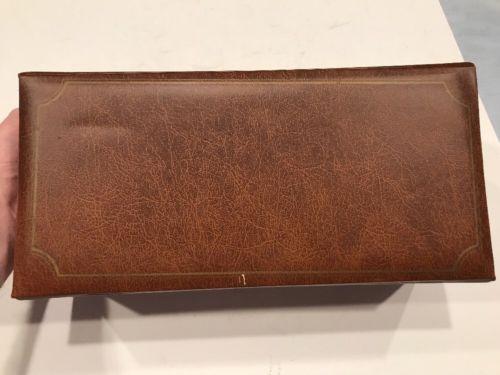Vintage Brown Faux Leather Covered Desktop Filing Drawer Index Drawer File