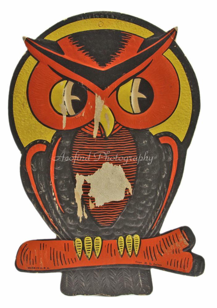 Vintage c1940's, HALLOWEEN, Die-Cut Cardboard Hoot OWL in Moon Window Decoration