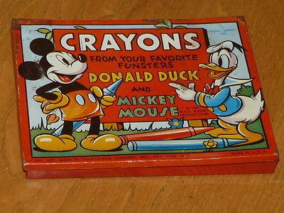 Vintage 1939 Walt Disney Crayon Pencil Box - Donald Duck & Mickey Mouse