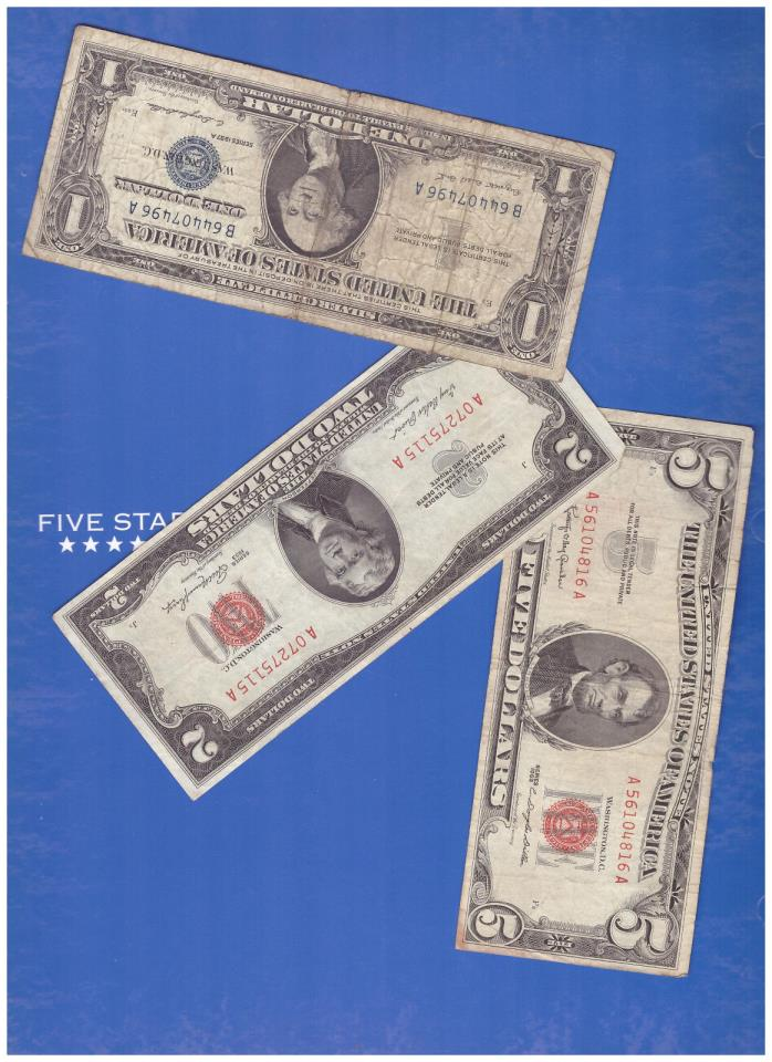 3 BILLS=1-1963 5 DOLLAR RED SEAL@ 1-1953 $2 & 1-1957 SILVER CERTIFICATE LOT H162
