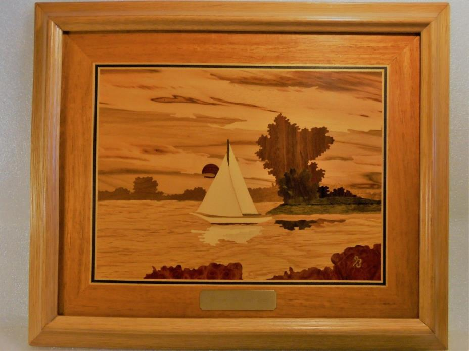 VINTAGE  HAND  MADE  INLAID  WOOD  MARQUETRY  OF  SAILBOAT  SIGNED  BY  ARTIST