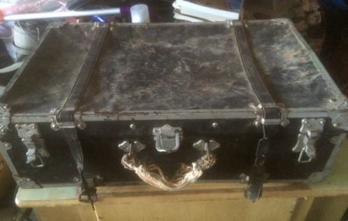 Vintage Black Steamer Footlocker Trunk Covered Wood w. Metal Decor/Photo Prop
