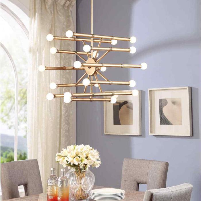 Goldtone 22-light Chandelier Art Deco Ceiling Fixture Hanging Home Decor