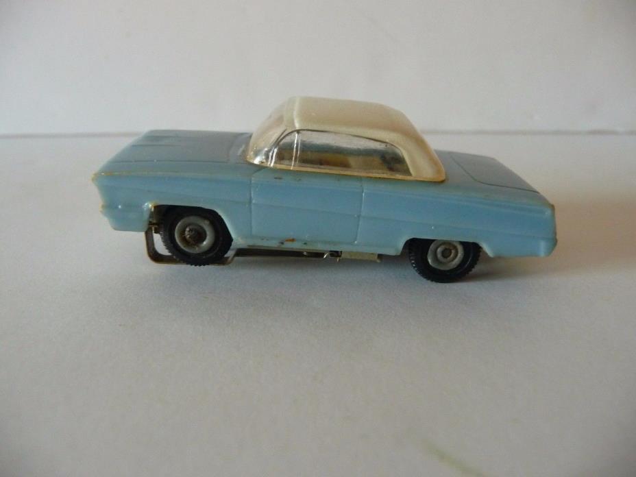 VINTAGE ATLAS  BLUE  CHEVY IMPALA/WHITE HOOD - SLOT CAR
