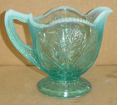EAPG BLUE OPALESCENT WILD BOUQUET CREAMER DUGAN GLASS 1903