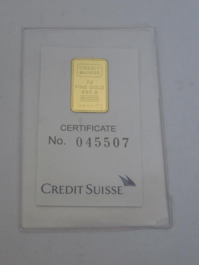 Credit Suisse Valcambi Liberty Swiss Gold bar  2 gram  .999