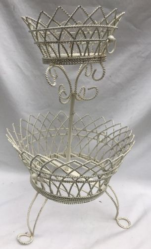 Two Tiered Wire Basket Fruit Holder Footed Shabby Chic Cream Color