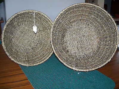 Hand Woven Round Seagrass Country Baskets, Set of 2 - 6x11  5x10