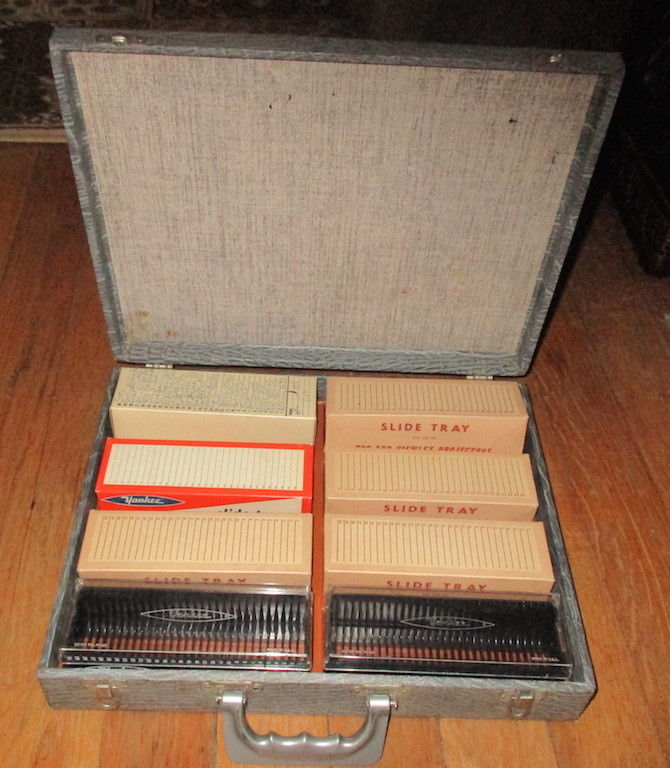 VINTAGE Slide Magazine Trays Slide Holders & CARRYING CASE w Handle YANKEE