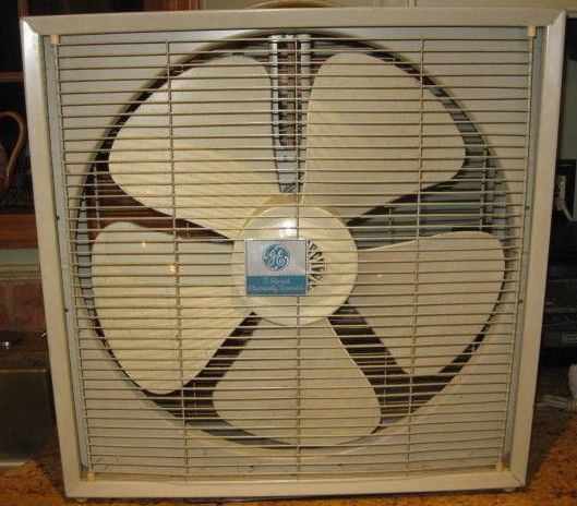 Vintage Box Window Floor fan by GE, clean!