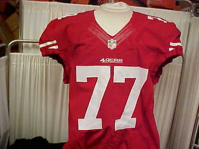 2014 NFL San Francisco 49ers Game Worn/Issued Jersey #77 Red Nike Size 48