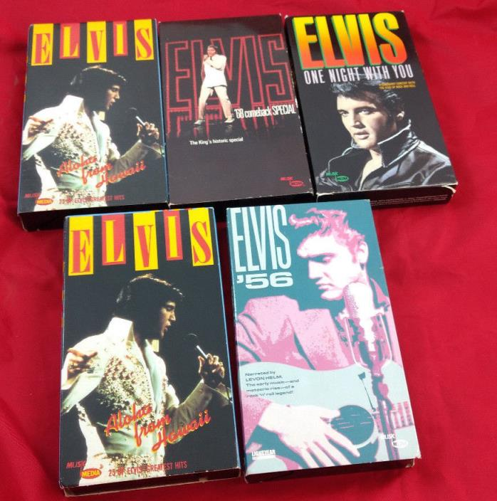 Elvis Presley 5 VHS Tape LOT 68 Comeback Special, Aloha, 56, One Night With VTG