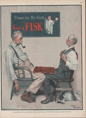 1925 Men Playing Checkers Fisk Tire Co Chicopee MA Automobile Car Tires Ad