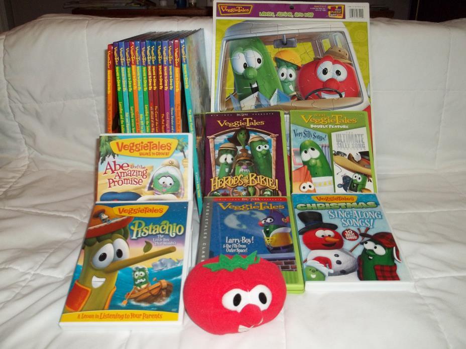 Veggie Tales Lot of Hardback Books DVDs 24pc Puzzle Larry Children Bob Lesson