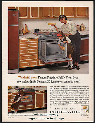 1965 FRIGIDAIRE Compact 30 Stove Kitchen Range w/Pull 'n Clean Oven PRINT AD