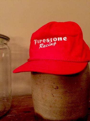 VTG 1990's Firestone Racing snapback hat cap red White script Indy Indycar RARE