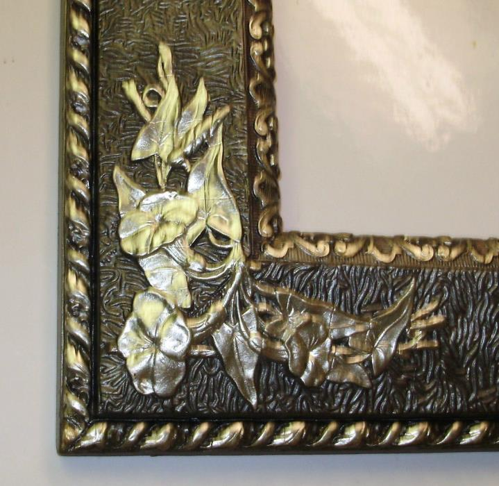 1800s  Antique Victorian Era Carved Wood Silver Flower Gesso Frame / 15 x 17 in.