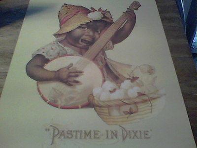 PASTIME` IN DIXIE ```...unusual Black Memorabilia` CHILD playing banjo` print