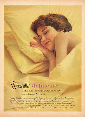 1960 vintage AD, WAMSUTTA Debucale Percale Bed Sheets  pretty model  -091914