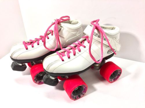 Riedell Womens R3 Cayman Roller Skates Size 5 White and Pink Roller Derby